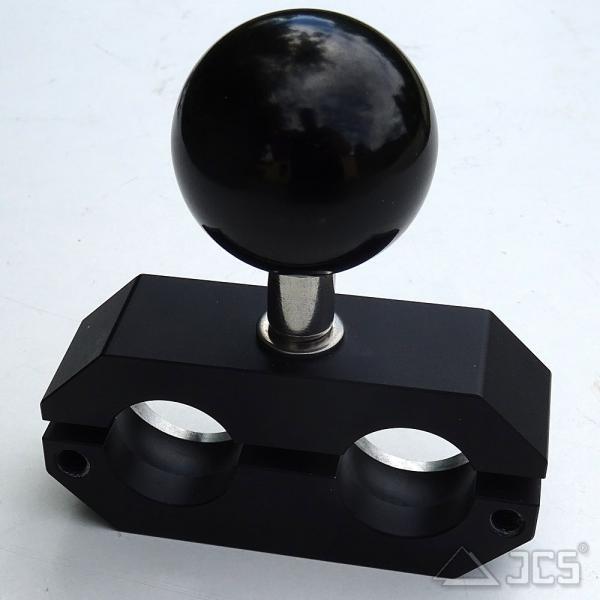OT Klemmblock für 2 Kugeln D25 Dob schwarz eloxiert