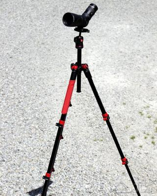 Spektiv-Set Celestron Hummingbird ED 56 Zoom mit Reisestativ Manfrotto Befree Alu Rot