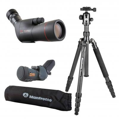 Set: KOWA Spektiv TSN-553 Schräg mit Zoom-Okular Black Edition + Stativ Manfrotto Element Traveller