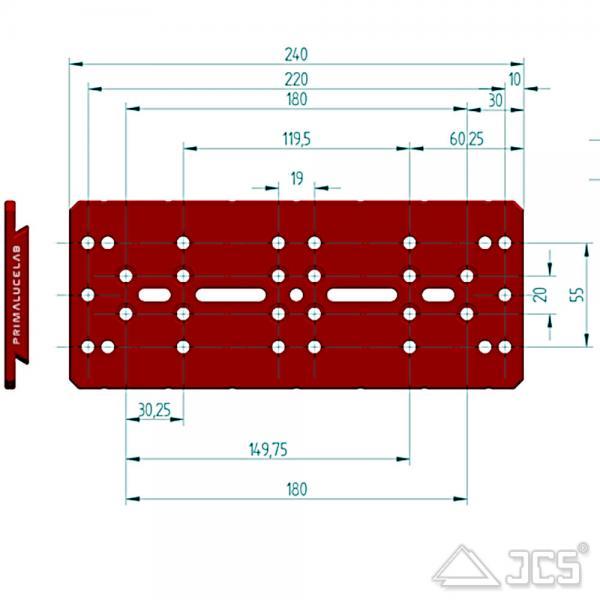 """PrimaLuceLab PLUS Losmandy Schiene 240mm Universal 3"""" Prismenschiene"""