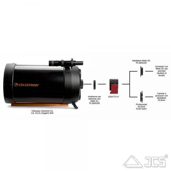 """PrimaLuceLab Adapter für Teleskope mit SC-Gewinde für 2"""" ESATTO motorisierter Okularauszug"""