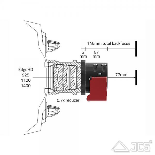 """PrimaLuceLab Adapter für Teleskope mit SC-Gewinde 3,3"""" für 2"""" ESATTO motorisierter Okularauszug"""