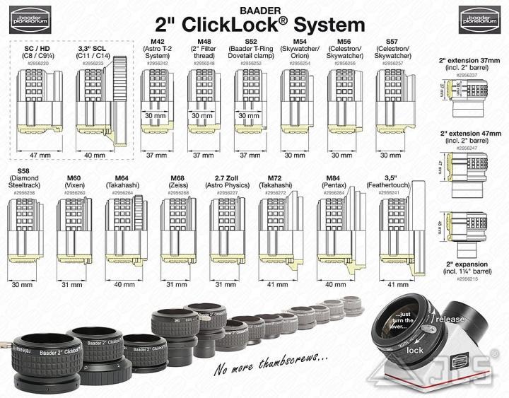 S57 Klemmung auf 2'' ClickLock Klemme für Celestron und SkyWatcher