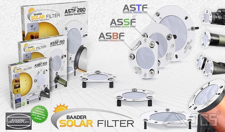 """AstroSolar ND5 Spektiv Aufsteckfilter 65mm, 2,56"""" ASSF mit Sonnenfilterfolie Visuell"""