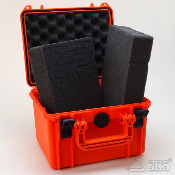 Outdoor Okular-Koffer 25, orange, Würfelschaum, Innen 23 x 18 x 16 cm