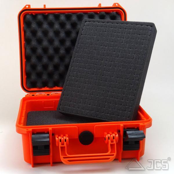 Outdoor Okular-Koffer 30, orange, Würfelschaum, Innen 30 x 22 x 13 cm