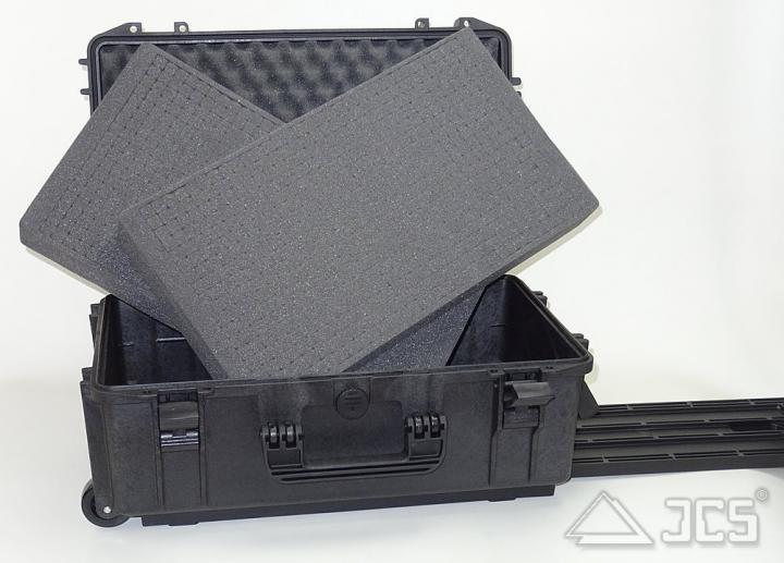 Trolley-Outdoor-Koffer 52, schwarz, Würfelschaum, Innen 52 x 29 x 20 cm