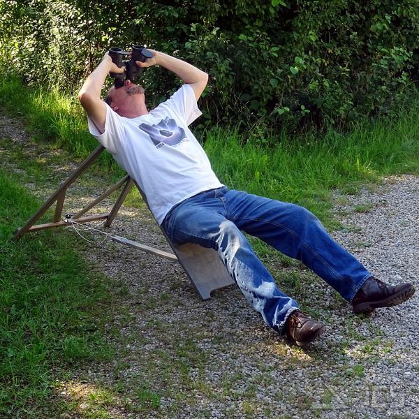 ICS Astro-Stuhl Magnum, grau Höhe 115 cm, mit verstärktem Sitzbrett