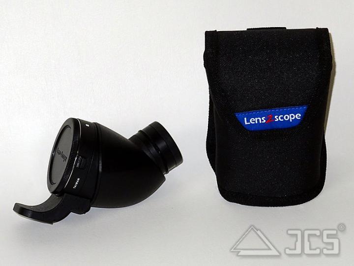 lens2scope 7mm WW Canon schwarz Schräg Spektivansatz für Fotoobjektiv